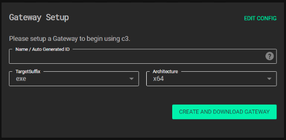 Screenshot of the our gateway configuration.